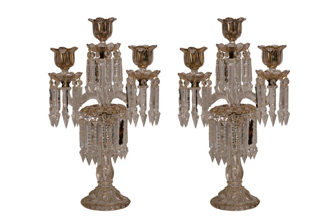 Paire de Candélabres – Cristal de Bohême