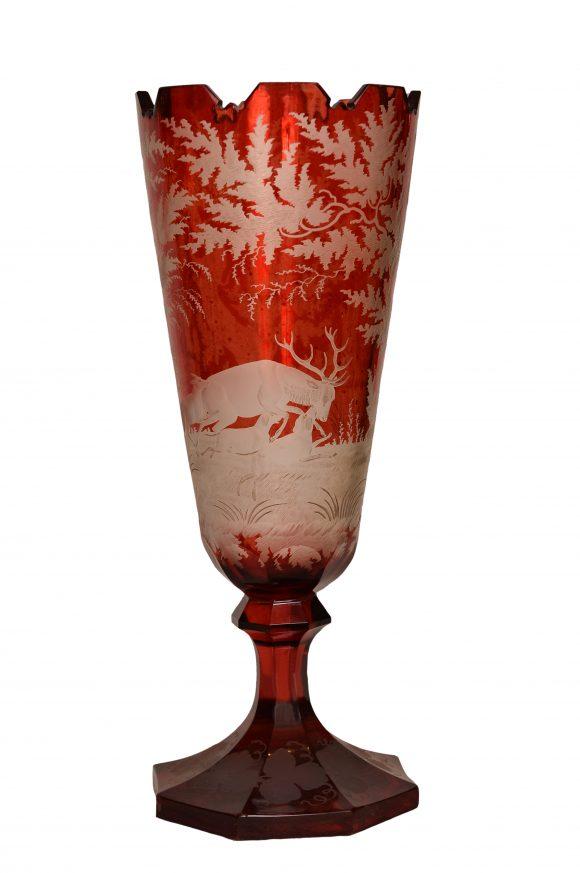 Vase sur pied – Cristal de Bohême