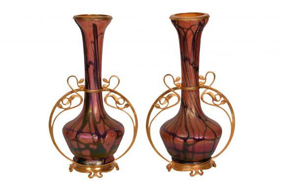Belle paire de Vases Loetz – Verre Cristallin Soufflé