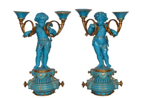 Paire de chandeliers – Porcelaine de Sèvres