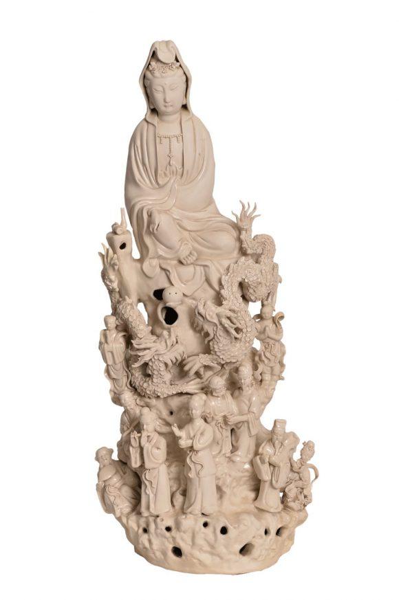 Groupe de figurine chinoise en blanc de Chine