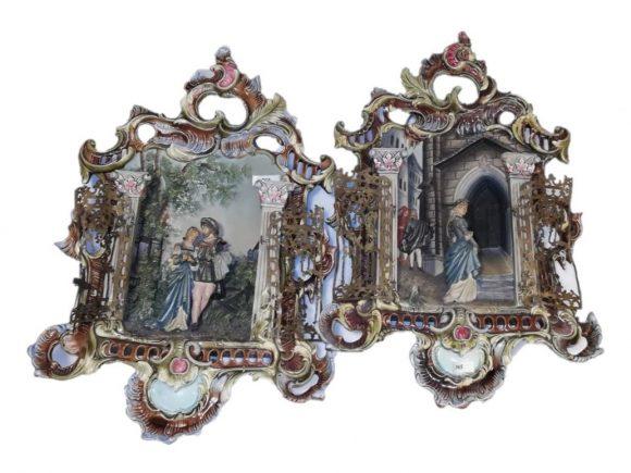Paire de tableaux en céramique Allemand