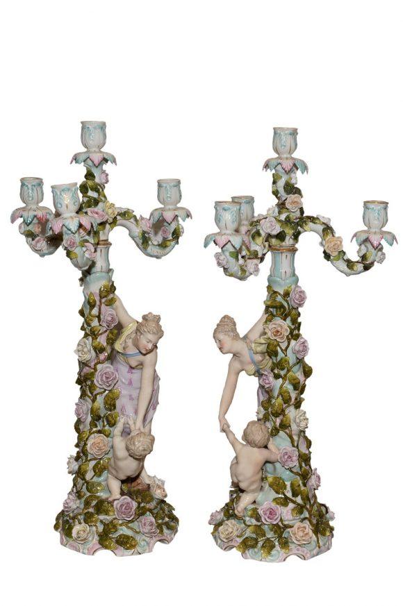 Paire candélabres de style Meissen