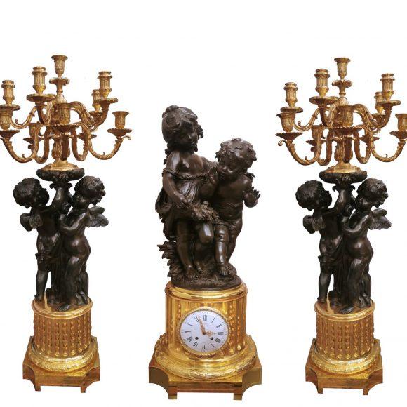 Garniture de cheminée en bronze