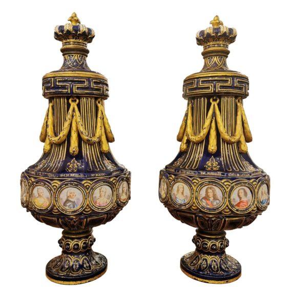 Paire de vases en porcelaine bleu cobalt de Sèvres