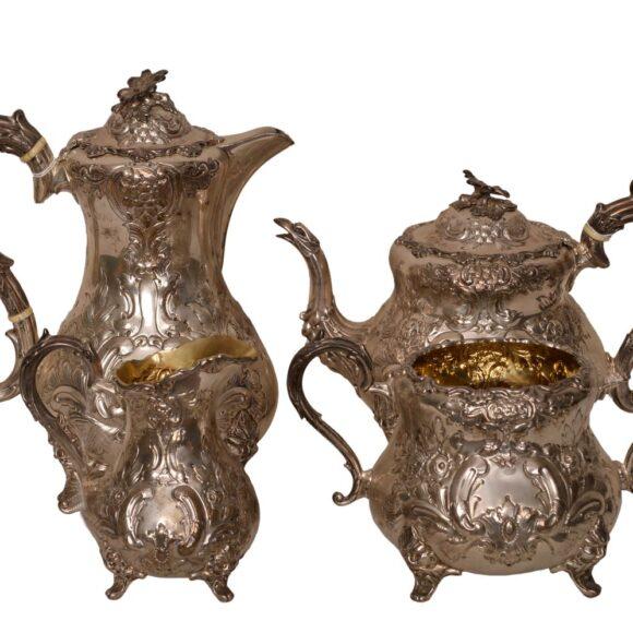 Service à thé en argent massif anglais