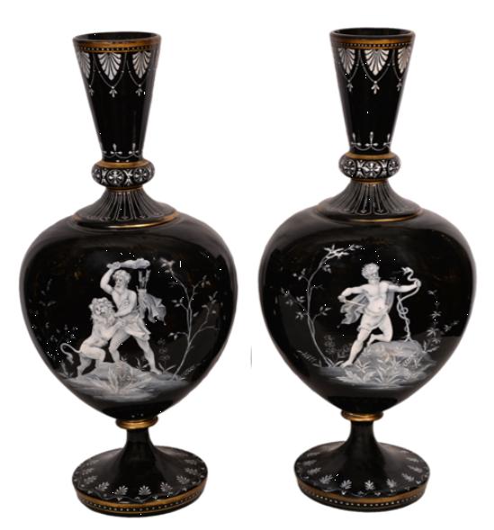 Paire de Gourdes – Style Victorien en Opaline