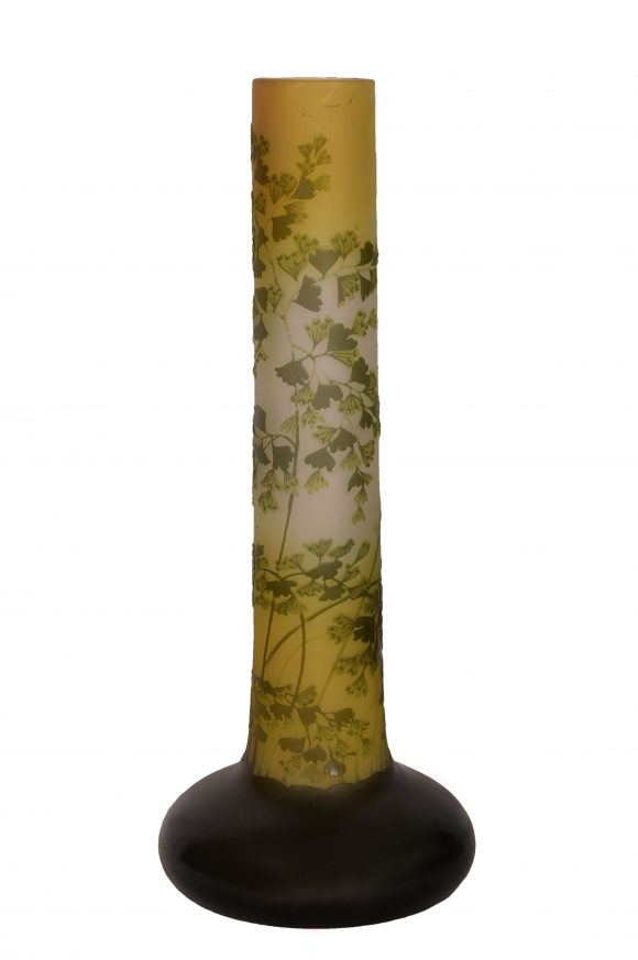 Grand Vase tubulaire – Signé Gallé