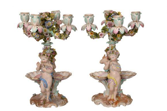 Paire de candélabres – Porcelaine de Meissen