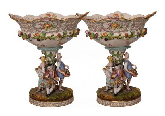 Paire de Centre de table – Porcelaine Allemand de Dresde