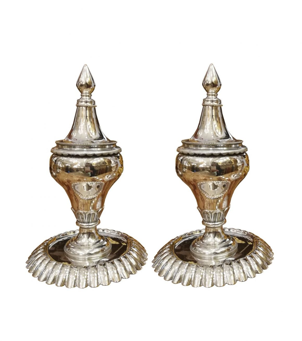 Paire de brûle parfum Ottoman en argent massif