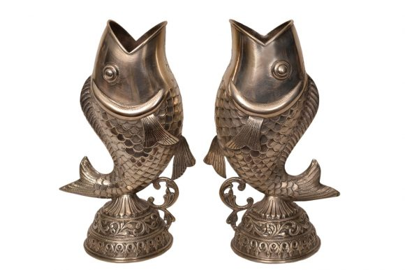 Paire de vases en forme de poisson