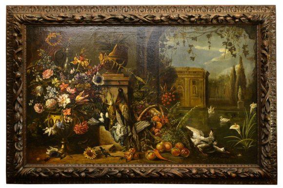 Nature morte aux oiseaux, fleurs et fruits